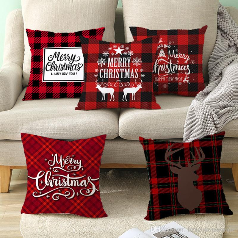 45*45cm Christmas Snowflake Pillowcase New Year Decor Santa Cushion Covers Home Sofa Pillow Case Xmas Pillow Cover Party Supplies BH2485 TQQ