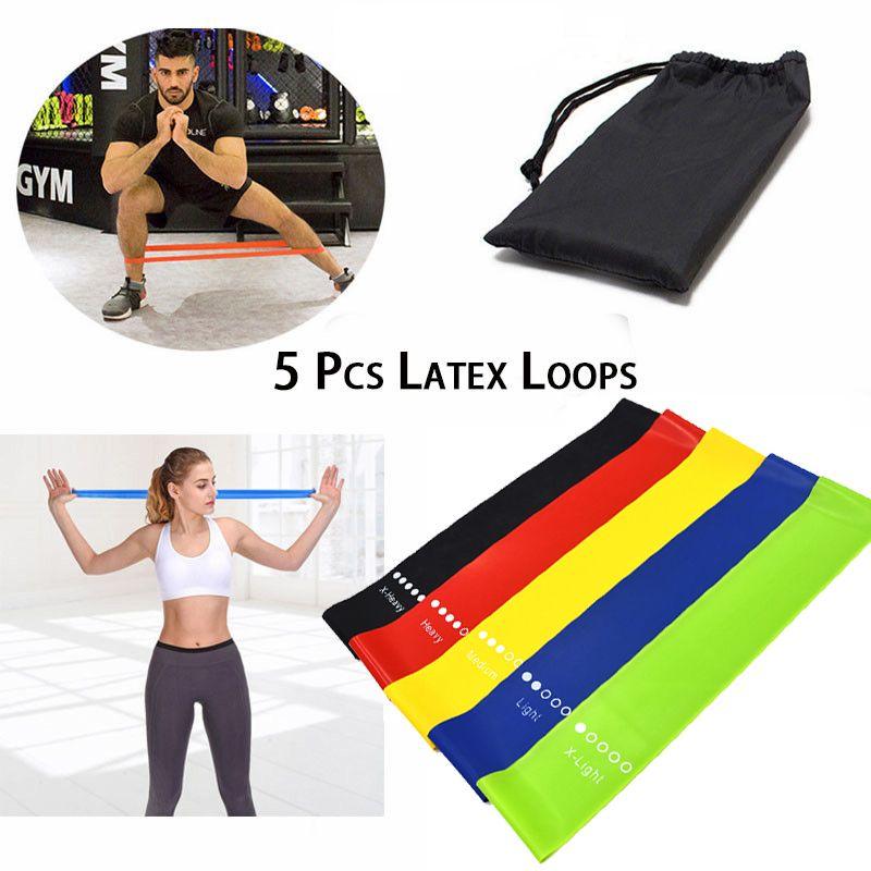 Männer Frauen Yoga-Widerstand-Gummiband Indoor Fitnessgeräte 0.35mm-1.1mm Pilates Übung Elastic Fitness-Bänder