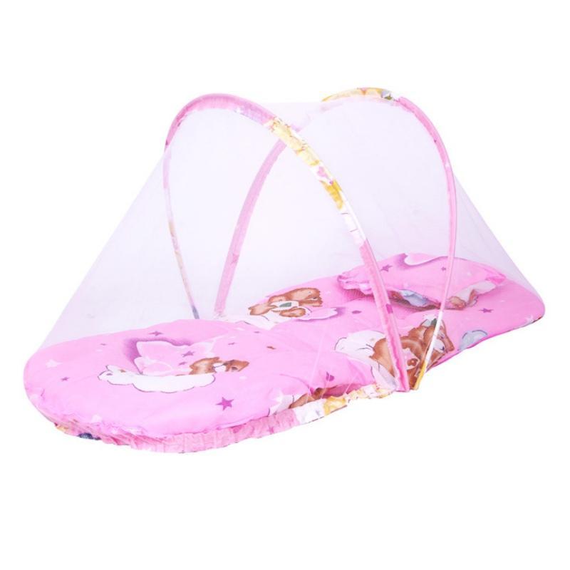 Bambino di estate della zanzara culla Net Con portatile pieghevole Canopy cuscino + Cute cuscino materasso Infant Bedding Accessori