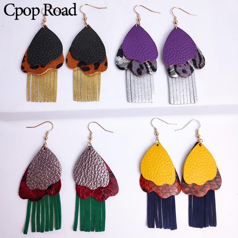 Cpop Multilayer Genuine Sheep Leather Tassel Earring Glitter Leopard Snake Skin Earring Fashion Leather Jewelry Women Party Gift