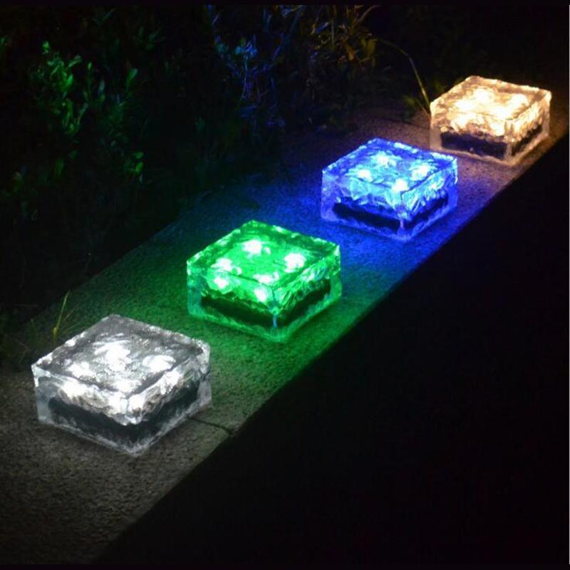 20 unids / lote Impermeable Ip68 Solar Tierra Cristal de Hielo Cristal de Plástico Luz de Jardín Al Aire Libre Luz Subterránea Camino de Piso Lámpara de Cubierta Led