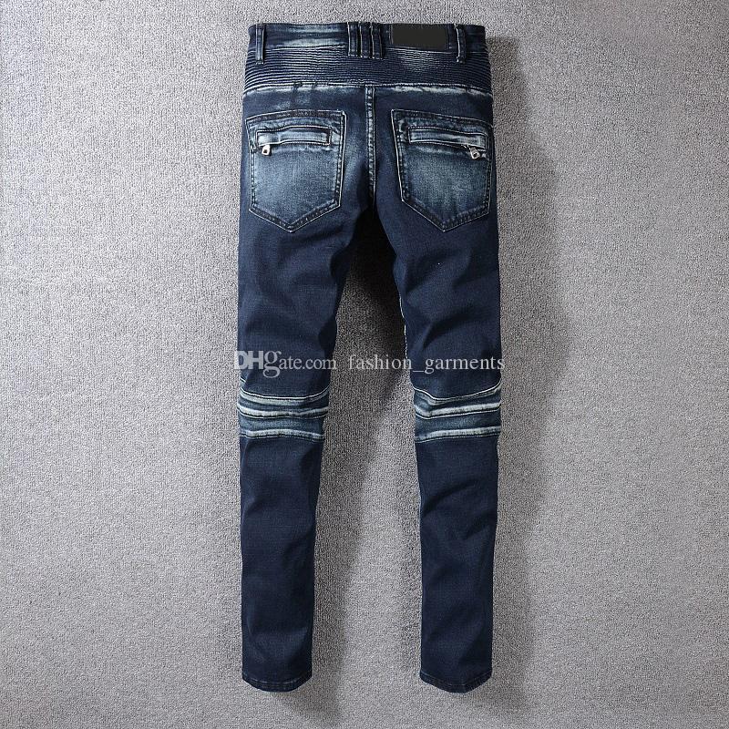 Los nuevos Mens del estilista de los pantalones vaqueros de Hip Hop desteñida Zipper Jeans vaqueros rasgados pantalones vaqueros azul de alta calidad para los hombres el tamaño 29-42