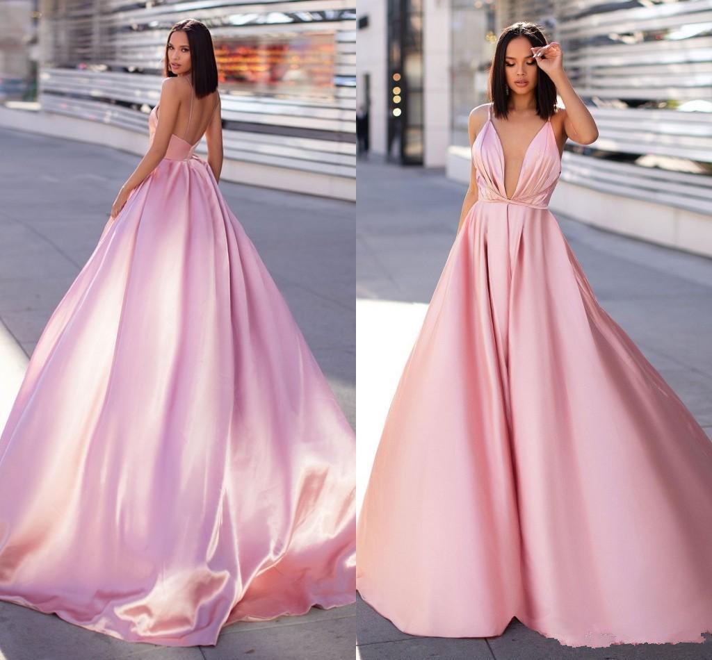 Sexy Открыть Назад Розовый Вечерние платья Новый Простой Дизайн линия бретелек Длинные атласная платья знаменитости Pageant Wears Robe де soriee