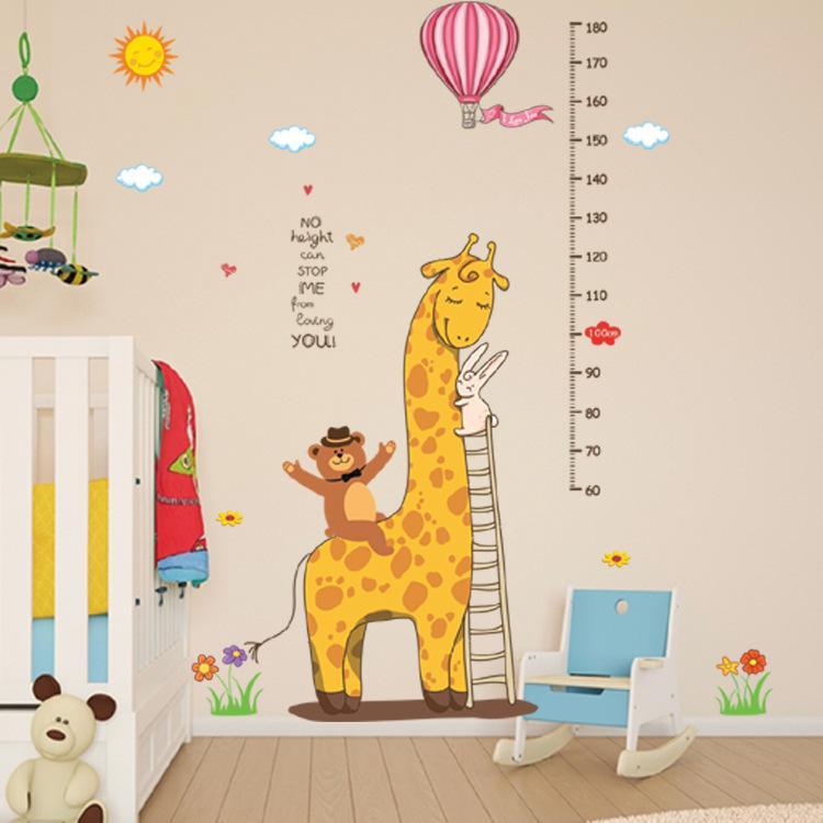Retail 90*60cm Mr. Giraffe bear rabbit cartoon animal height paste kindergarten children's room decoration wall sticker