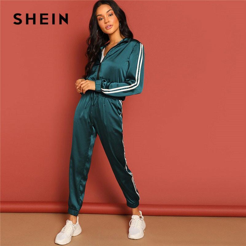 vente en gros vert zippé bande bande veste et cordon pantalon survêtement en satin femmes printemps casual streetwear deux pièces ensemble