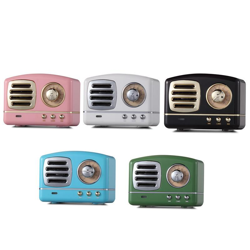 Wireless Stereo Retro Speaker Portable Bluetooth Vintage Speaker with SD Card Slot AUX for Kitchen Bedrooms Desk Party