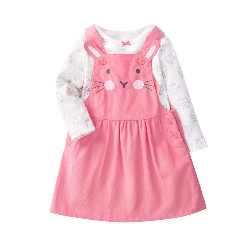 Orangemom Super Nice Baby Girl Clothing Pink Cartoon Rabbit Long Sleeve T Shirt + Cat Infant Dresses 2 Pcs Baby Sets For Girls J190426