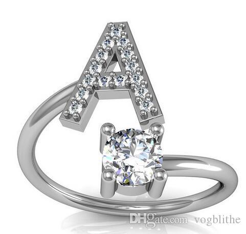 26 inglese Alfabeto stile anelli di Zircon Combinazione semplice creativo con gli anelli di apertura per il partito delle donne gioielli regali di compleanno