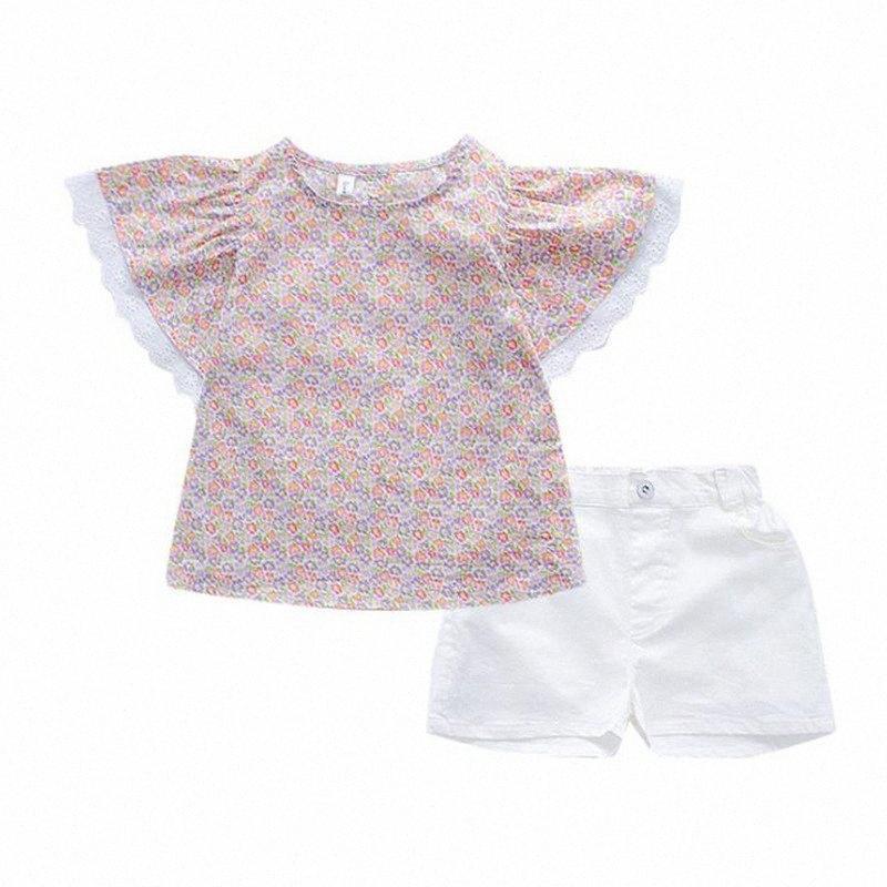 DFXD 1-7Yrs Çocuk Giyim Seti Yaz Dantel Kol Çiçek tişört Tops yazdır + Beyaz Şort 2pc Kıyafet Çocuk Giyim Yeni Klw1 # ayarlar