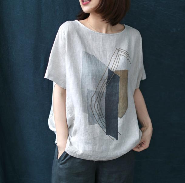 Sommer neues T-Shirt dreidimensionale Literatur und Kunst beiläufig Großformat gedruckt Leinen T-Shirt weiblicher Rundhals Kurzarm