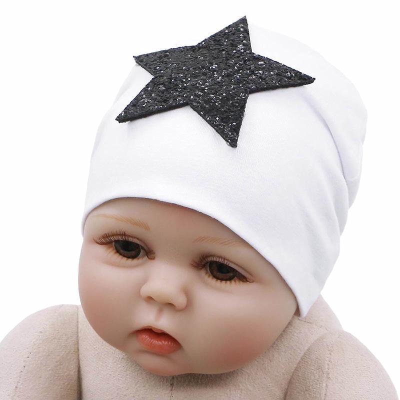 GZHilovingL Paillettes Star Baby Hat nouveau-né Printemps Hiver chaud en coton extensible bébé Hat couleur solide Bonnet mignon pour bébé Filles Garçons