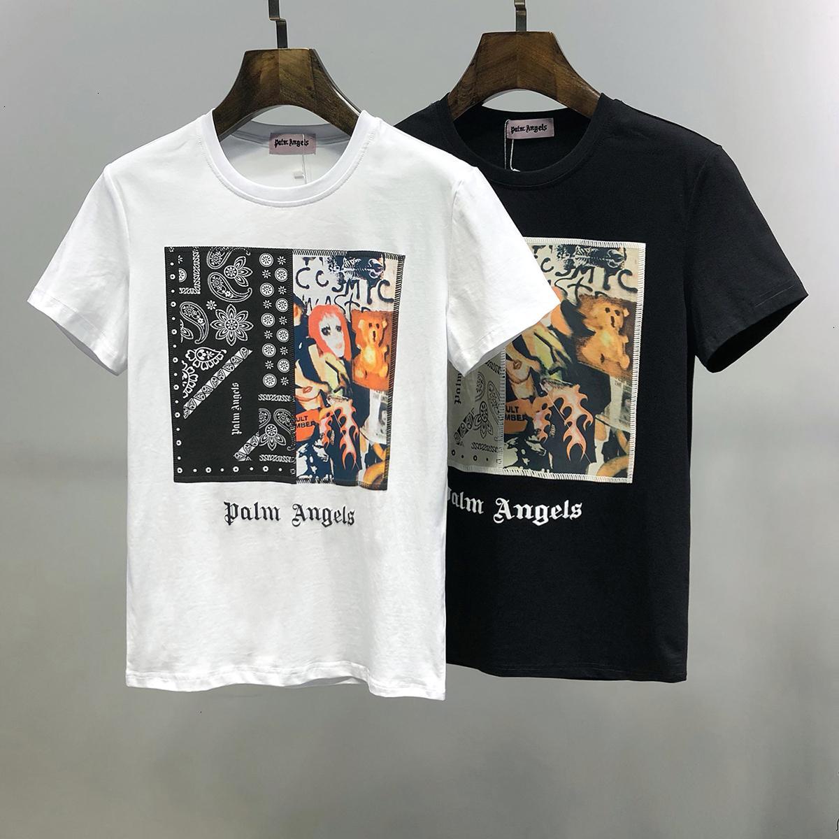 2020 Весенняя мода Tide круглый воротник Печатное Мужская одежда с коротким рукавом футболки для мужчин чистого хлопка 11284