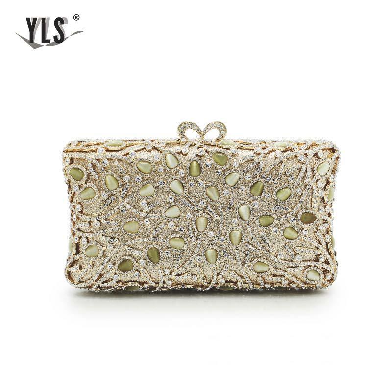 YLS Elegant Natural Jade Crystal Women Gold Evening Bag Party Metal Torebki Damskie Handbag Bridal Diamond Purse Wedding Clutch
