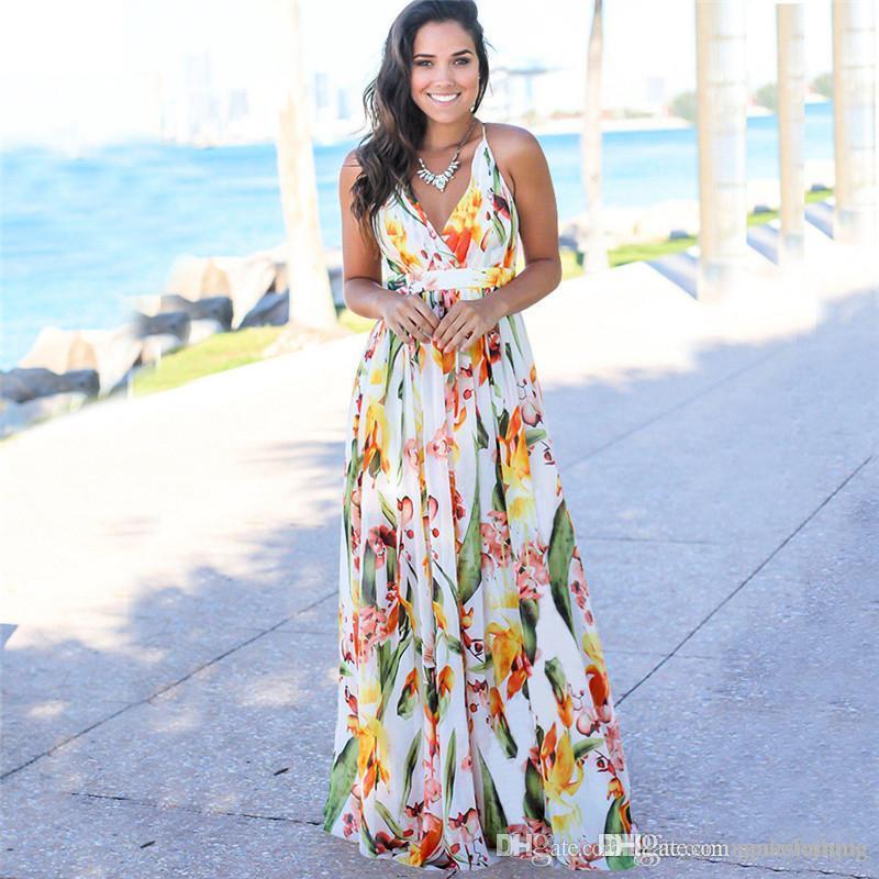 V-Ausschnitt Backless Flora gedruckt Kleider Sommer Spaghetti-Bügel-Sleeveless Frauen Strand-Kleider Sexy Laides Maxikleid