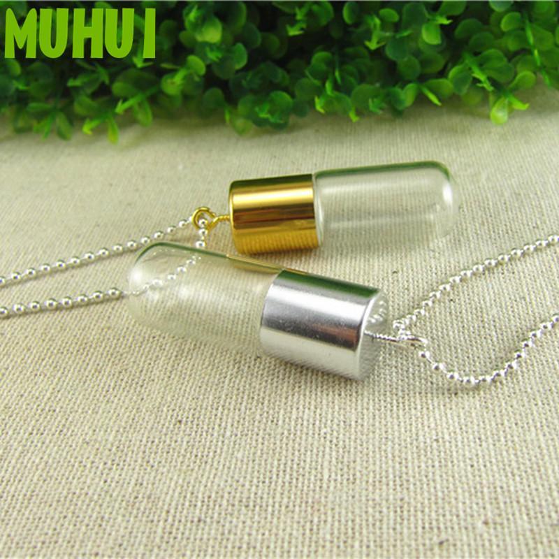 3ML 4.5cm Bouteille en verre Creative Pendentif parfum Collier, huile essentielle Gardez une petite bouteille pour les femmes Colliers Collares 19191