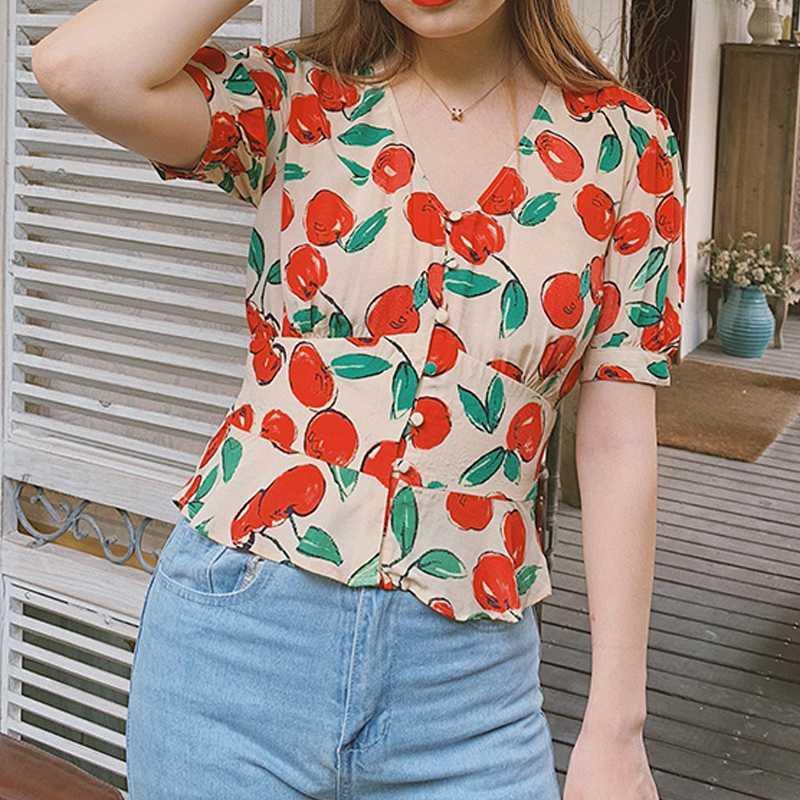 Женские блузки Рубашки Элегантная Рубашка Дизайн Французская Ретро Принт Мода V-образным вырезом Рубцы Блузка 2021 Топы Летние Женщины