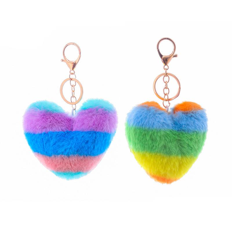 2019 New Soft Artificial Rabbit Fur Keychain Love Heart Plush Key Ring Cute Bag Charm Pompom Keychains for Women Girls Christmas Gift M614F