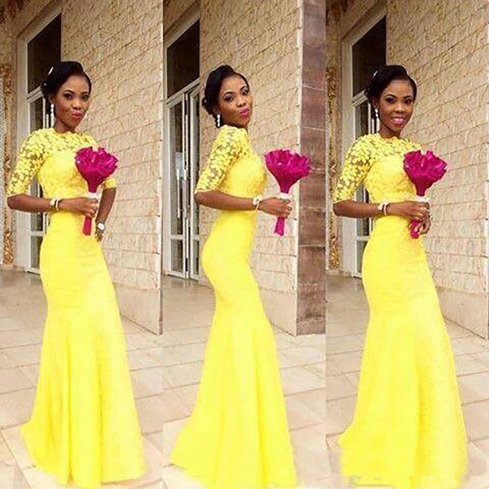 2020 preto Africano New Amarelo Chiffon Mermaid manga curta dama de honra Vestidos menina Prom vestidos longos Lace Parte Vestido de Noite