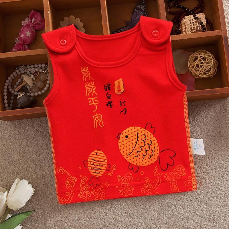 Cotone 0-1 abiti rossi gilet maschili base e bambino femminile pieno dalla maglia vestMoon neonato disossato autunno