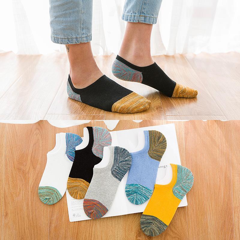 Toptan 5 Çift / grup Yeni Erkekler Pamuk Çorap Yüksek Kaliteli Kaymaz Rahat Nefes Hiçbir Gösterisi Tekne Çorap Kısa erkekler Moda 2WZ316