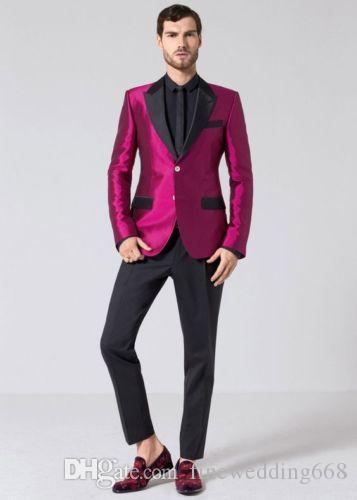 Handsome Two Buttons Groomsmen Peak Lapel Groom Tuxedos Men Suits Wedding/Prom/Dinner Best Man Blazer(Jacket+Pants+Tie) AA204