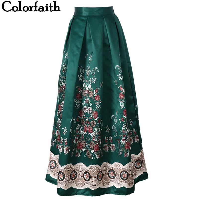 Muslim Women100cm Non-transparent Fashion Satin Long Skirt Vintage Retro Print High Waist Pleated Flared Maxi Skirt