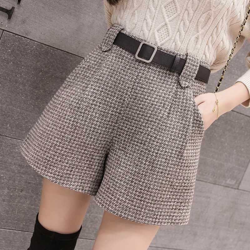 Mezcla de lanas Otoño Invierno Pantalones cortos de las mujeres elegantes de la correa suelta a cuadros Pantalones cortos Mujer de cintura alta de Corea 2019 nueva llegada