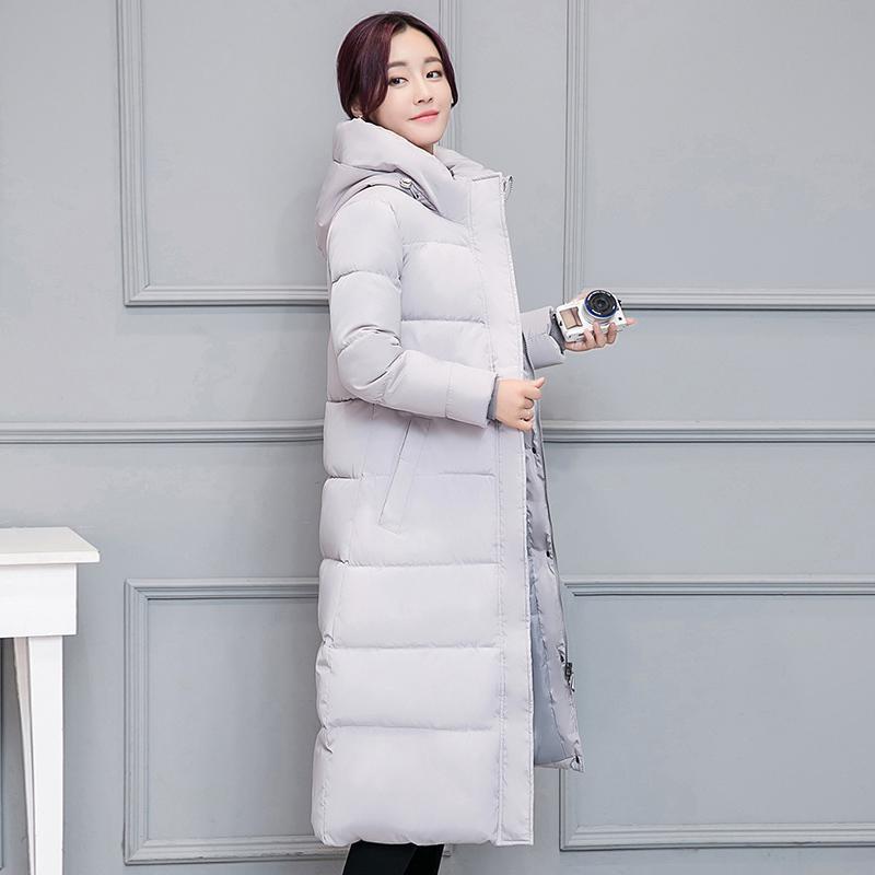 Veste Hiver Femme Femmes Manteau Slim mince Casual Bas Coton Femme Manteaux épais manteau gris à capuchon chaud d'hiver XL