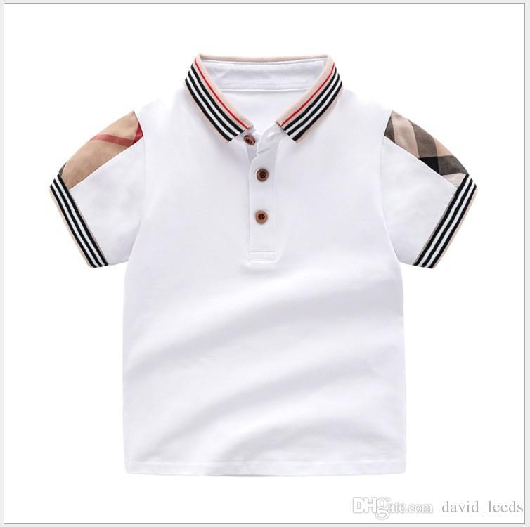 Détail été bébé garçons filles t-shirts coton enfants t-shirt à manches courtes enfants de haute qualité col rabattu t-shirt à carreaux enfants vêtements