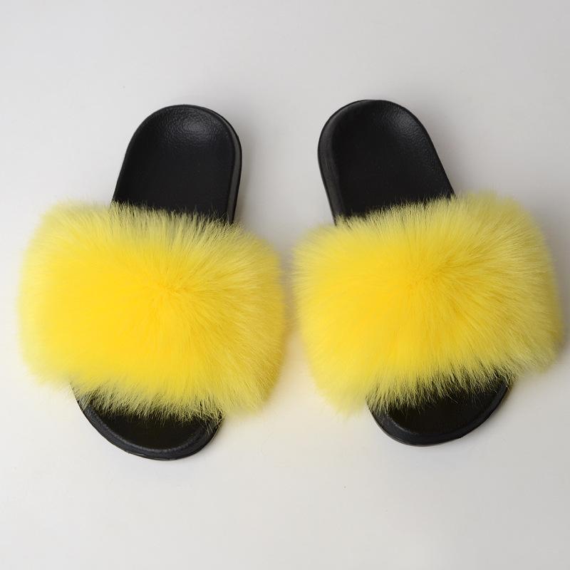 La imitación de piel de zorro de interior zapatillas de casa de verano de una línea de zapatillas de piel de imitación del sombrero al aire libre de las sandalias de las mujeres sandalias casuales de la moda