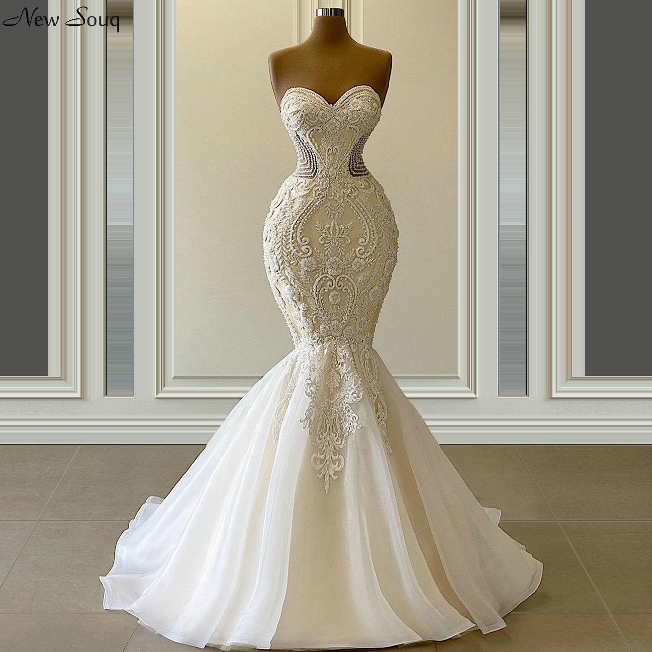Vestido De Novia Graceful Mermaid Brautkleider Schatz-Ansatz Luxus wulstige Brautkleider nach Maß 2020