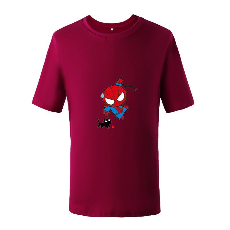 Homens Verão Spiderman Americano Anime Camiseta Superhero Mens Personagem de Banda Desenhada Bonito Tshirts Spidermen Gato Bonito Impressão Tee Plus Tamanhos