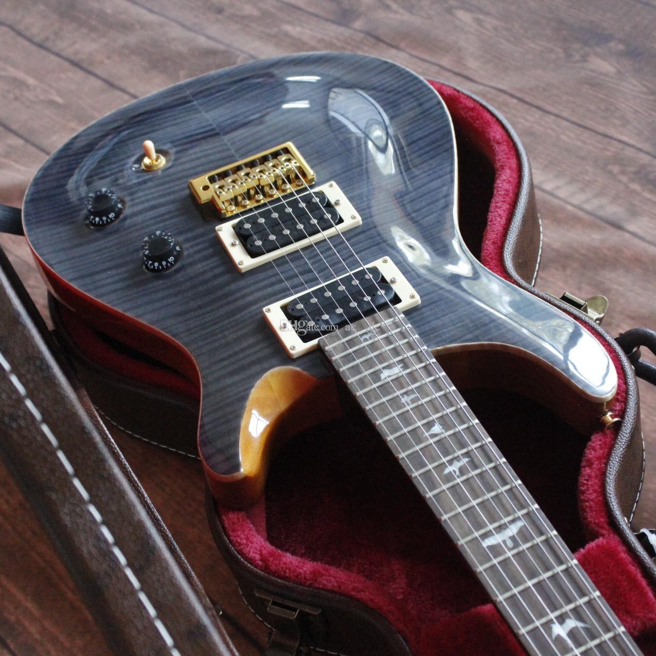 Продвижение! Темно-синий серый пламя клена вершина Smith Электрическая гитара мост тремоло, обвязка дерева, белая швабровка птиц инкрустация, Eagle Headstock