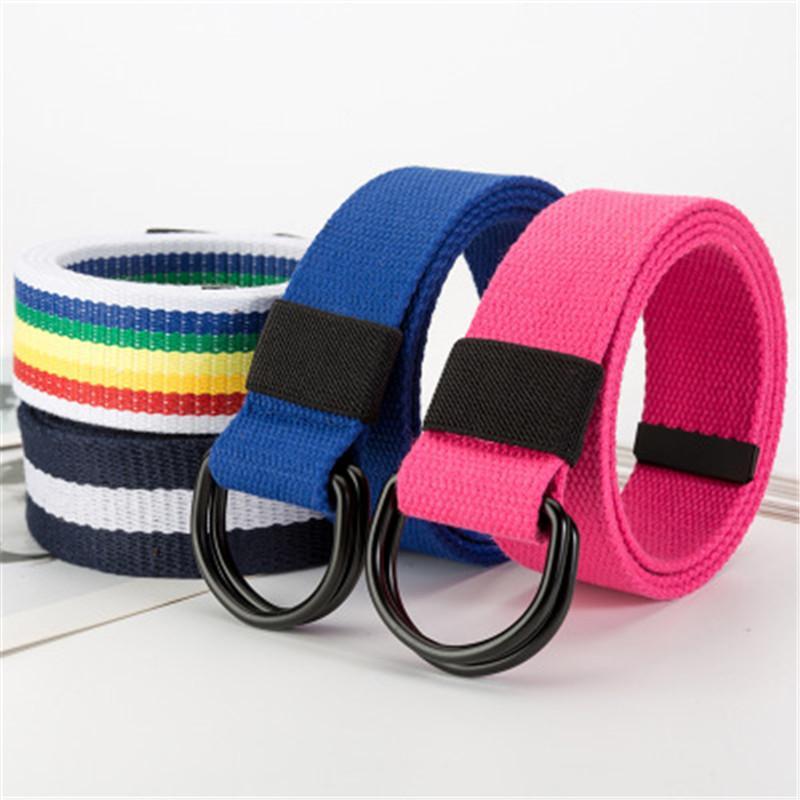 Cintos 3,8 centímetros Anel Duplo Canvas Belt Casual Jeans Belt Juventude Estudantil Cintura ao ar livre para as Mulheres Homens Ladies Alta Qualidade