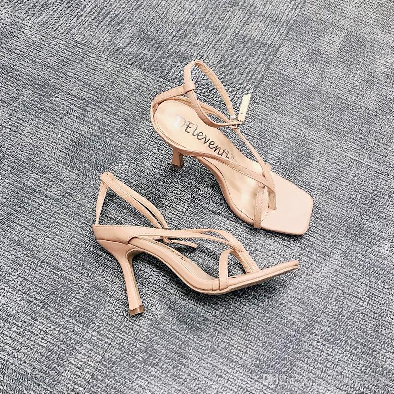 Tacchi alti delle donne eleganti con tacco Sandali per Ladies Open Piazza Toe tacco a spillo scarpe sandalo estate