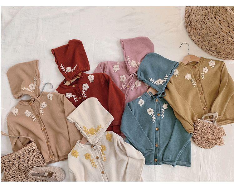 Bebek Kız giysileri hırka kazak ceket + Şapka% 100% pamuk kız üst Çiçek Nakış Zarif Giyim Bahar Tasarım kazak giymek