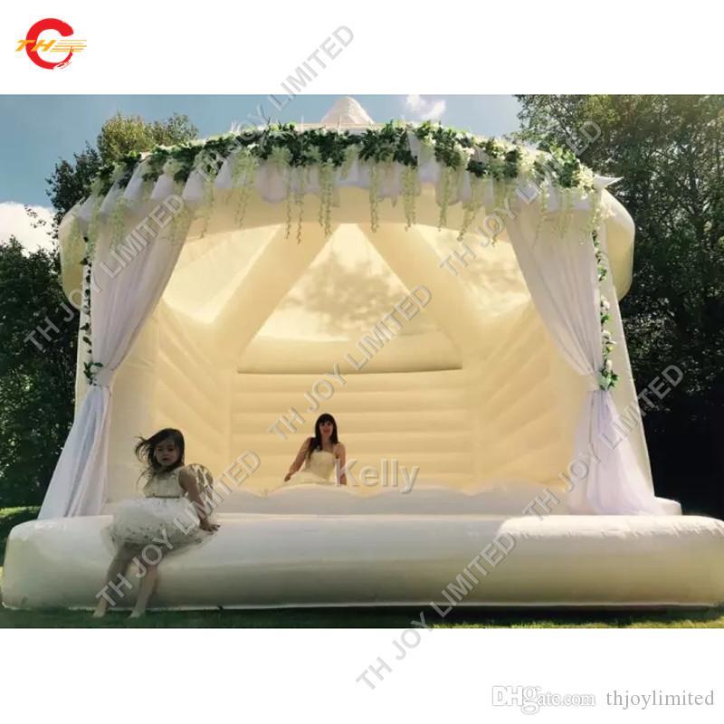 высокого качество популярного надувных свадьбы вышибалу взрослые белый прыжки замок для свадьбы цены завод белого гигантского надувного свадебного вышибалу