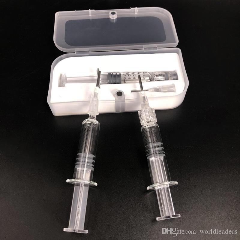 92a3 AC1003 A9 셀 카트 이산화탄소 두꺼운 기름 플라스틱 상자 포장 바늘 지그 도구를 감는 1ml의 파이렉스 유리 주사기 Vaping 코일