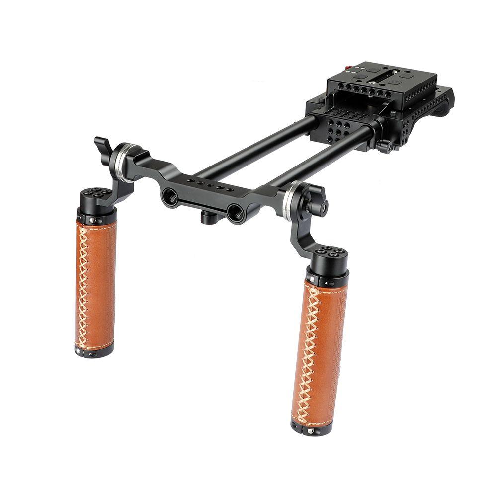 CAMVATE poche double ARRI Rosette Grip (cuir) Rig épaule pour Sony VCT-U14 Adaptateur Trépied code d'article: C2033