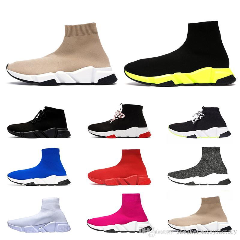 Top Fashion 2020 ACE Luxury Designer Speed Trainer Sock Shoes Women Mens Casual Shoes Black Yellow Triple White Flat Socks Boots Sneakers