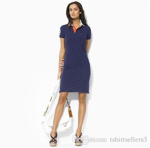 Ücretsiz kargo! 2020 Yaz Moda toptan Yeni Markası büyük at kadın ödemesiz İnce Polo Kısa Kollu Günlük Elbiseler% 100 pamuk, Bırak nakliye