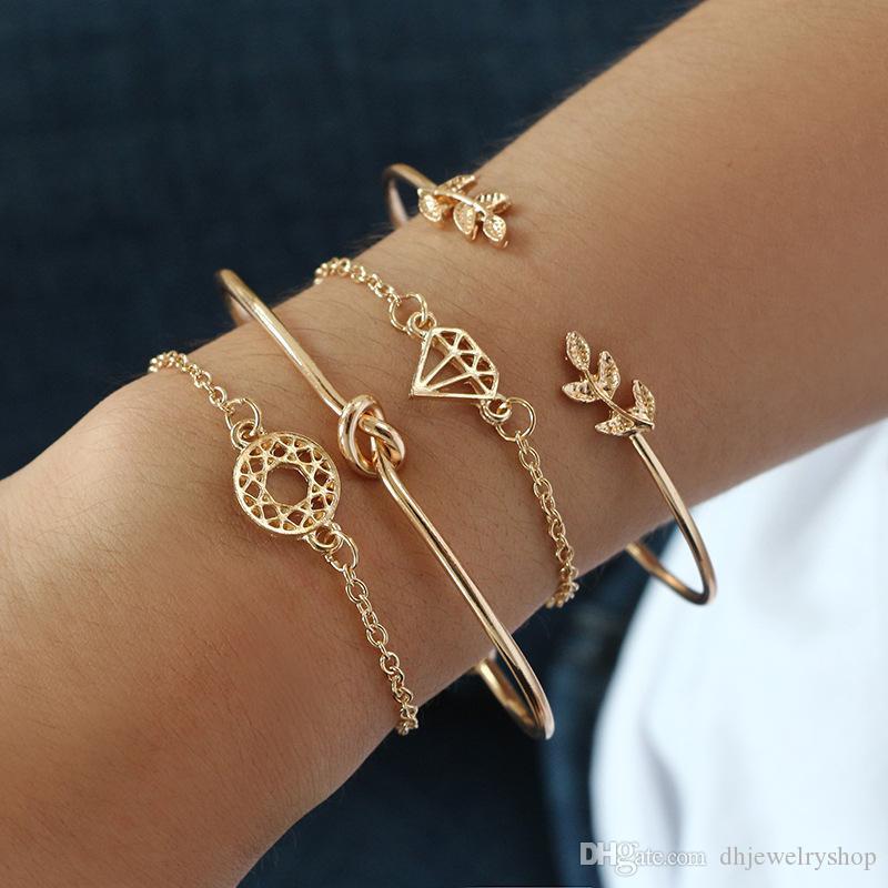 Vintage браслет браслет, 4шт Листья Knotted Rainstone стекируемые Open манжета браслет браслет для женщин девочек