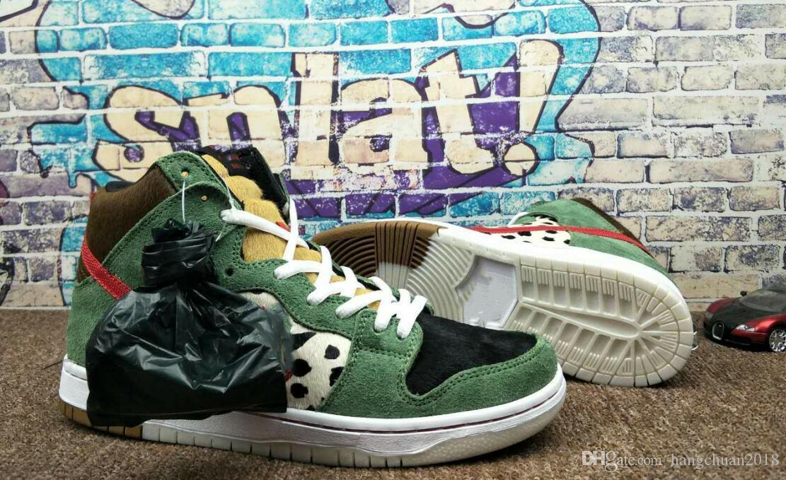 2019 Best New SB Dunk High Dog Walker zapatos de baloncesto de buena calidad para hombre negro verde entrenadores diseñador marca deporte zapatillas de deporte TAMAÑO 40-46