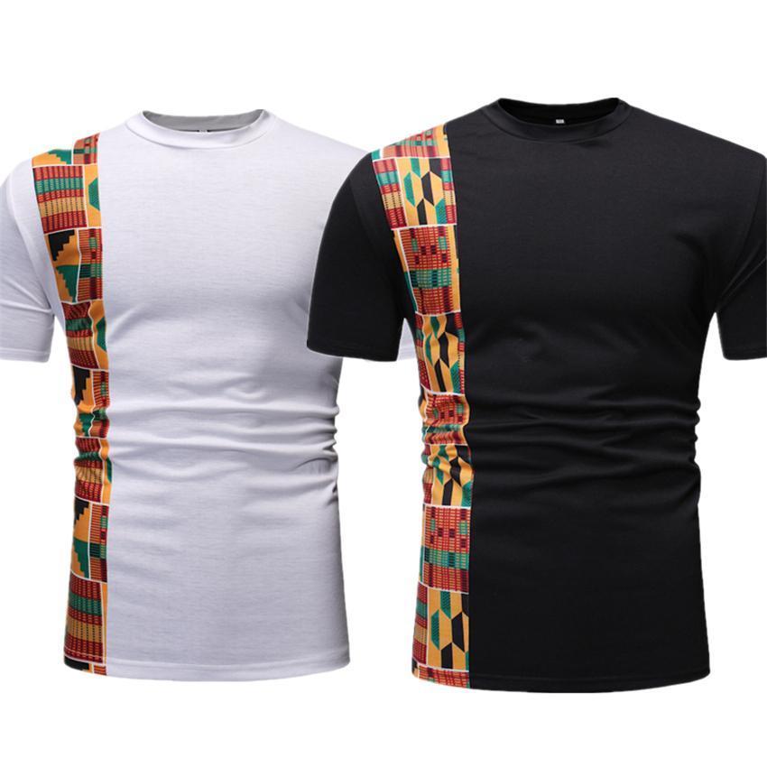 Новые африканские одежды для Mens Топы с коротким рукавом Печать Rich Базен Ankara лето с коротким рукавом Традиционная Африка моды футболку
