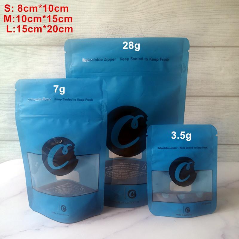 Сумки 7G 28G Blue Cookies S L M M Zipper Stand Stand Track Упаковка Доказательство сухого 3.5G Доказательство дочерних детей Функция Atakl
