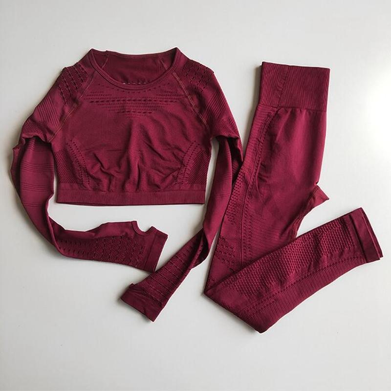 Kadınlar Dikişsiz Yoga Setleri Yüksek Bel Gym Mesh Tozluklar Gömlek İnce Yoga Running Uzun Kollu Fitness Egzersiz Spor T200616 ayarlar Suit