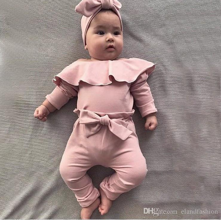 2019 otoño nuevas muchachas Ins manga larga Romper Y Bow pantalones casuales Set Moda infantil del bebé del mameluco de 2 Piezas niños mameluco bonito