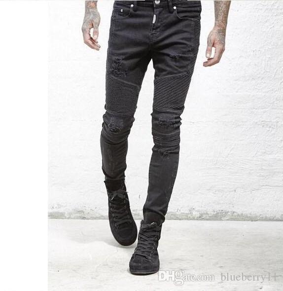 Homens Shredded plissadas jeans slim Hetero bicicleta rígida Skinny Jeans Homem ocasional Torn Jeans Tamanho Preto Azul