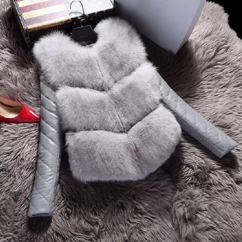 Herbst-Winter-Frauen Faux-Pelz-Mantel-Jacken Mode warme Mäntel Weiblich Hochgradige dünne Jacken Oberbekleidung gefälschte zweiteilige Klage-Weste