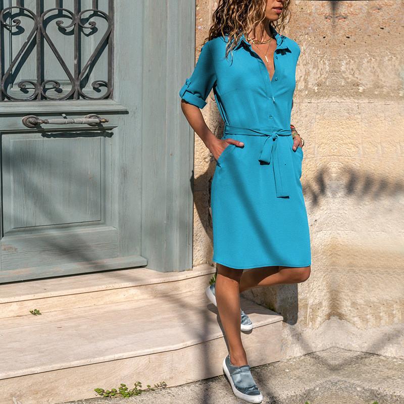 Управление леди отложной воротник рубашки платье три четверти рукава Весна женщин платье плюс размер Повседневный платья лета сыпучих Vestidos CX200525